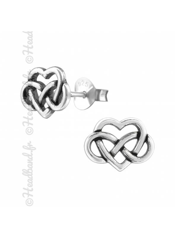 Clous d'oreilles coeur celte en argent