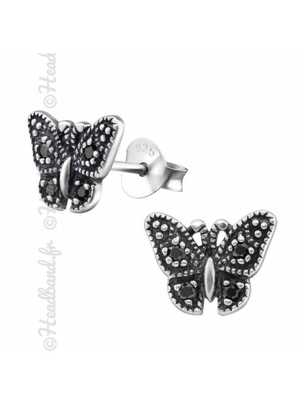Boucles puces papillon strass noir en argent