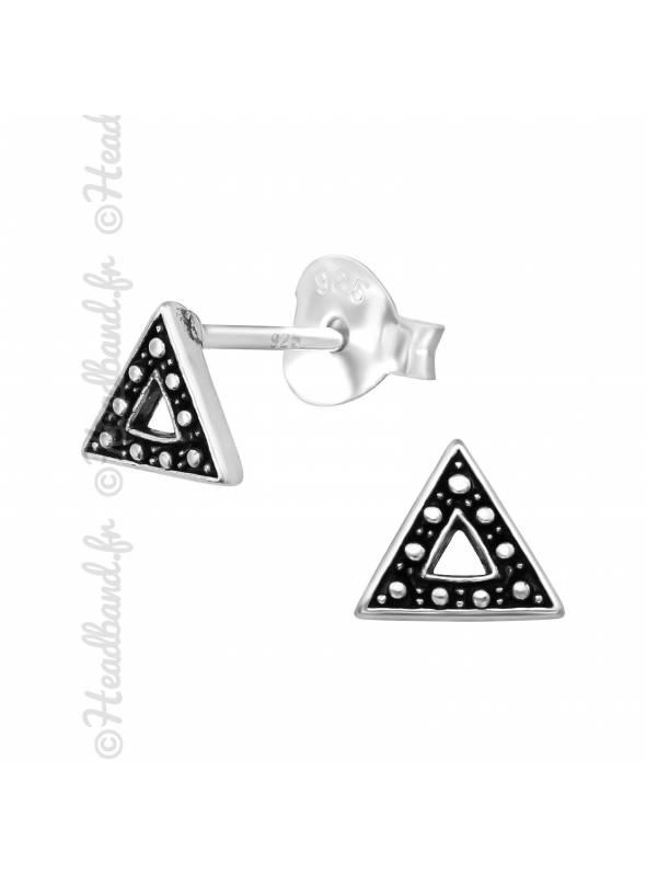 Boucles puces triangles ethniques en argent