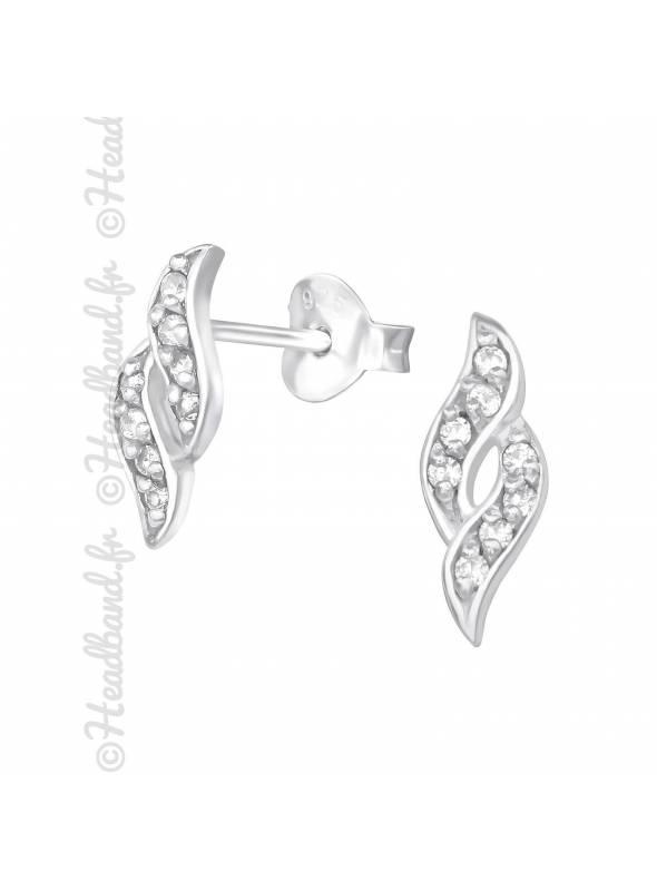 Boucles puces spirales cristaux en argent