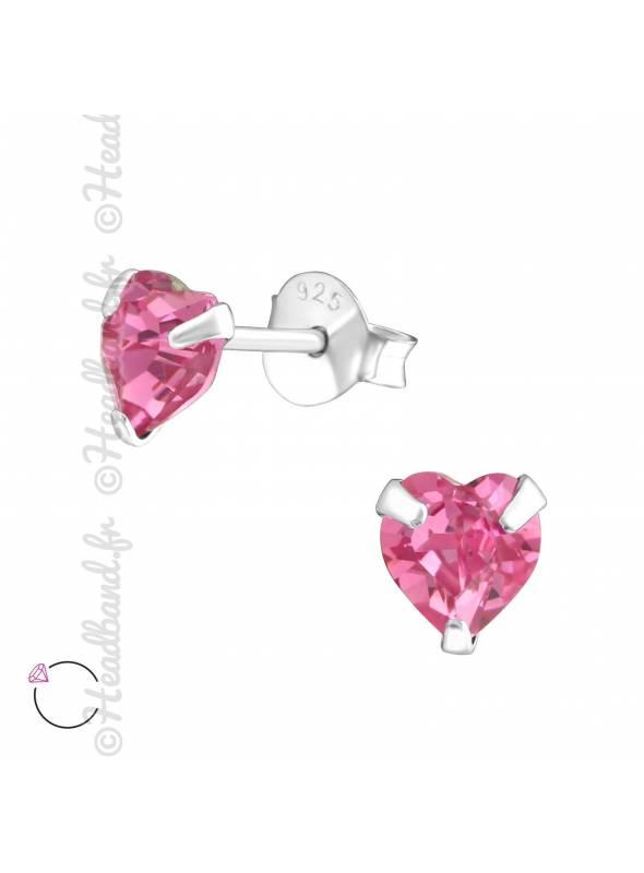 Clous d'oreilles coeur avec cristal Swarovski rose