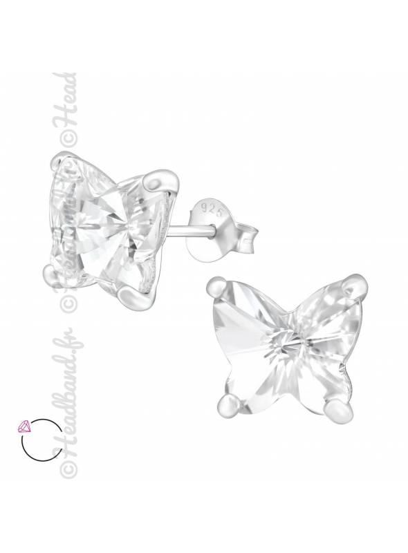Clous d'oreilles grand papillon avec cristal Swarovski blanc