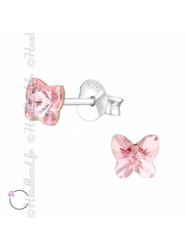 Boucles puces papillon 5 mm avec cristal Swarovski rose