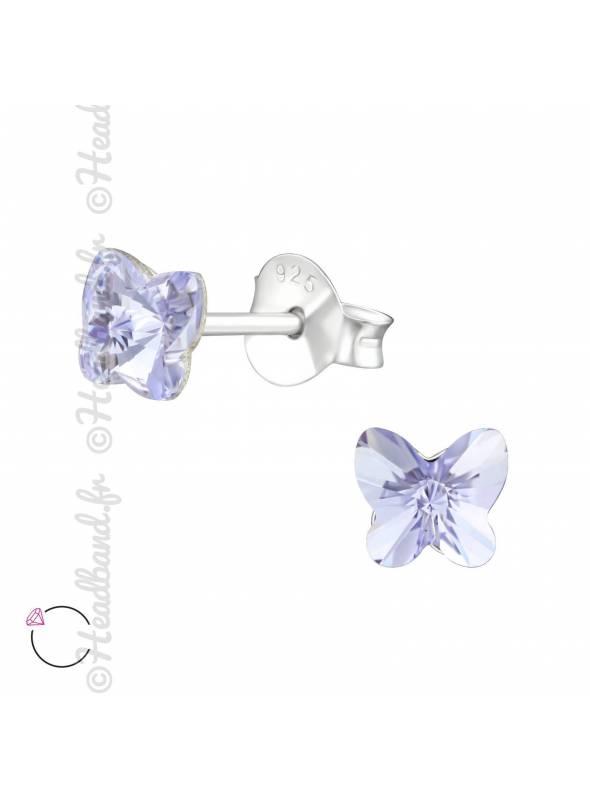 Boucles puces papillon 5 mm avec cristal Swarovski lavande