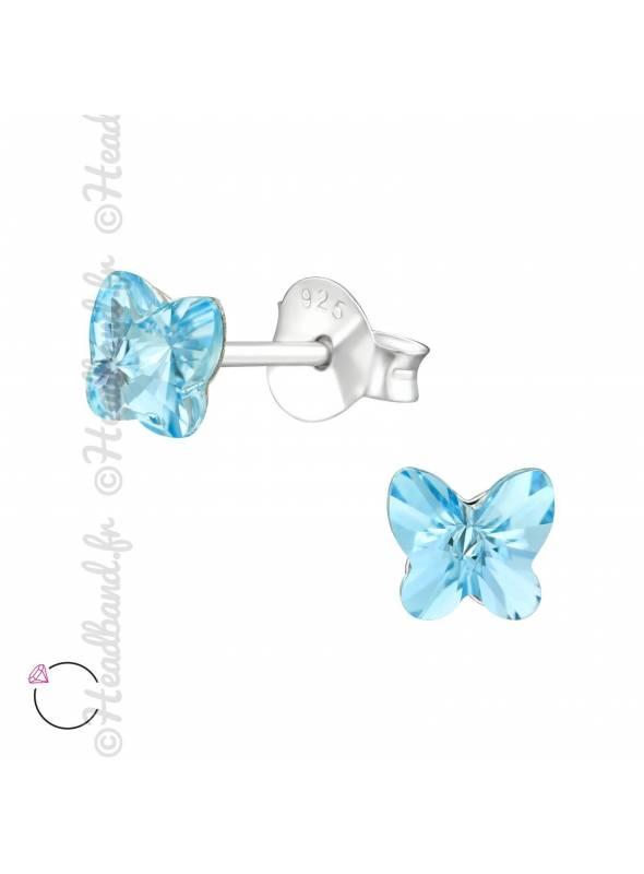 Boucles puces papillon 5 mm avec cristal Swarovski bleu