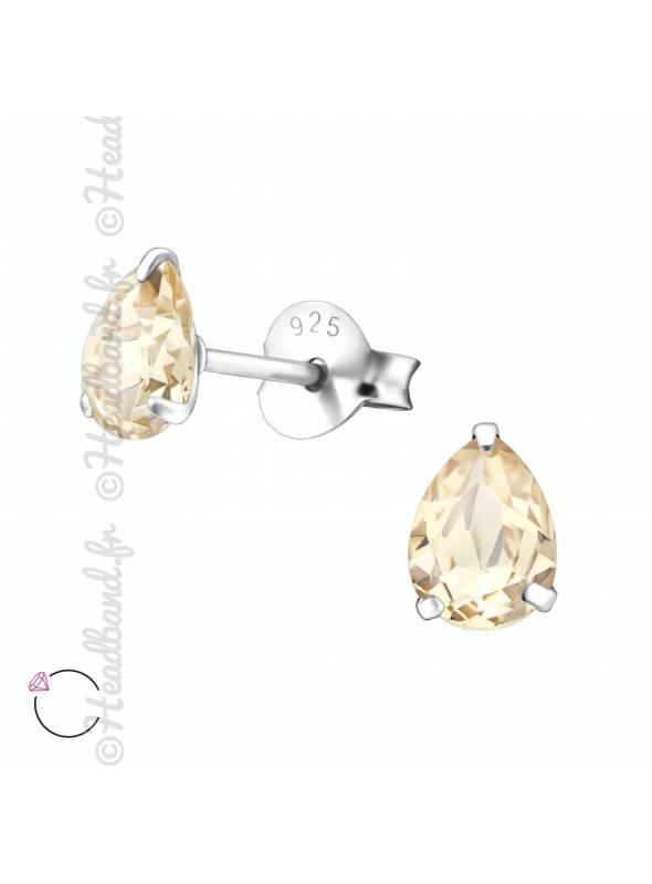 Boucles puces ovale griffe avec cristal Swarovski light silk