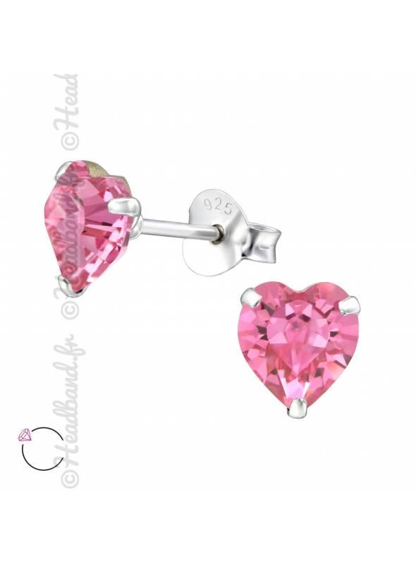 Clous d'oreilles cristal coeur Swarovski rose foncé