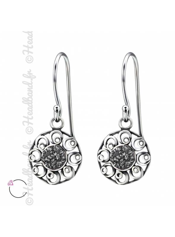 Boucles d'oreilles avec cristal Swarovski black diamond