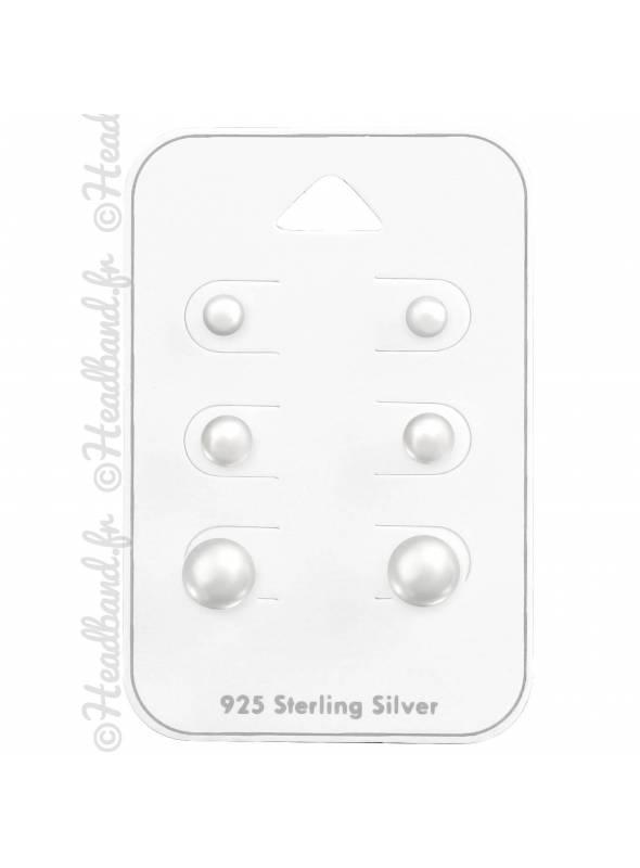 Lot 3 paires de boucles perles blanches en argent