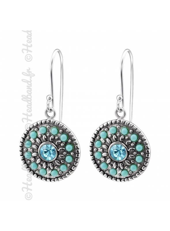 Boucles d'oreilles mosaïque turquoise en argent