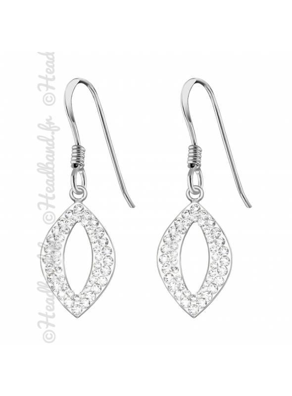 Boucles d'oreilles marquise strass blanc en argent