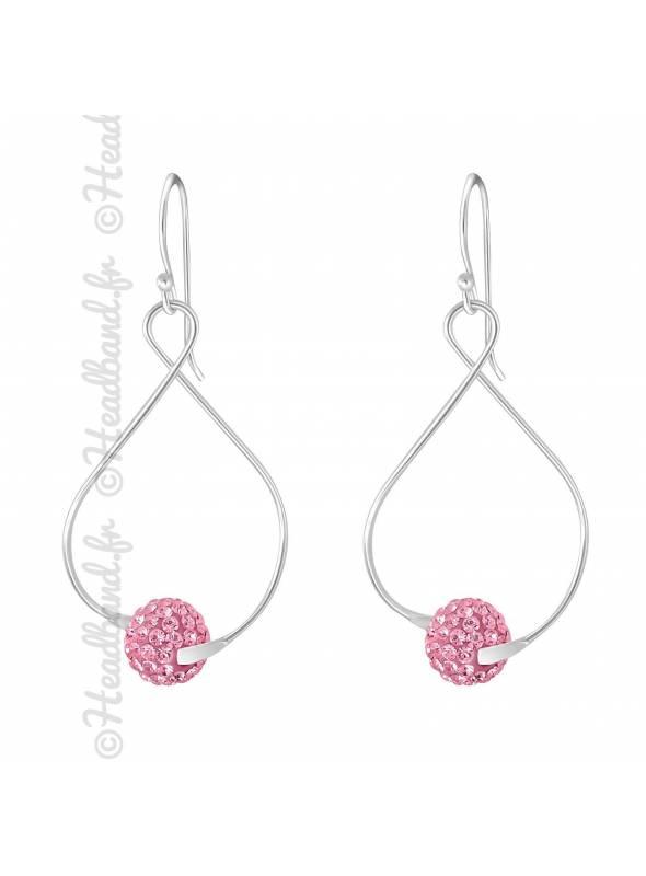 Boucles d'oreilles boule rose cristaux en argent