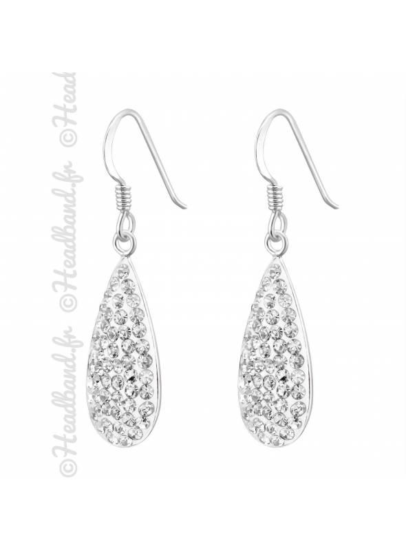 Boucles d'oreilles pendantes cristaux blanc en argent
