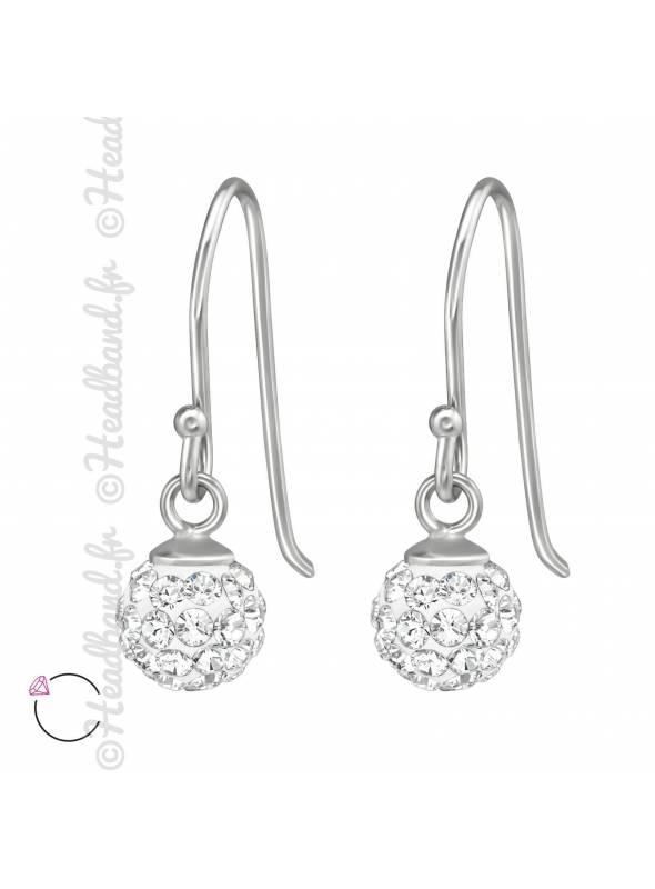 Boucles d'oreilles boule avec cristaux blanc Swarovski