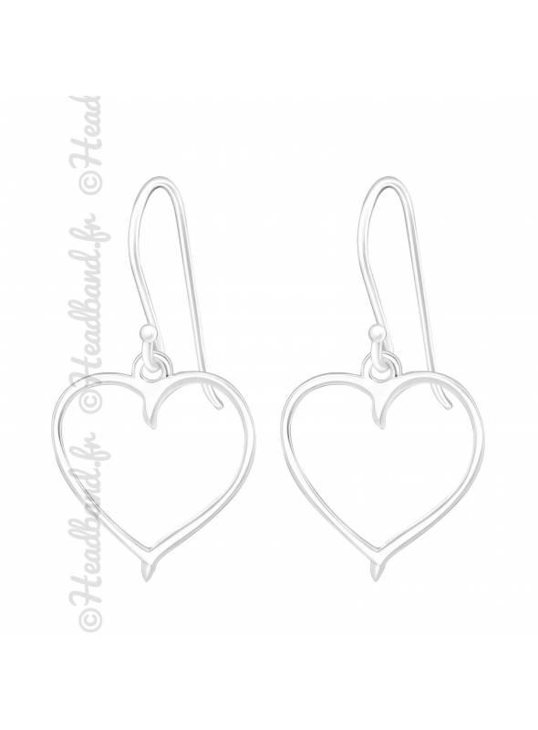 Boucles d'oreilles pendentif coeur en argent