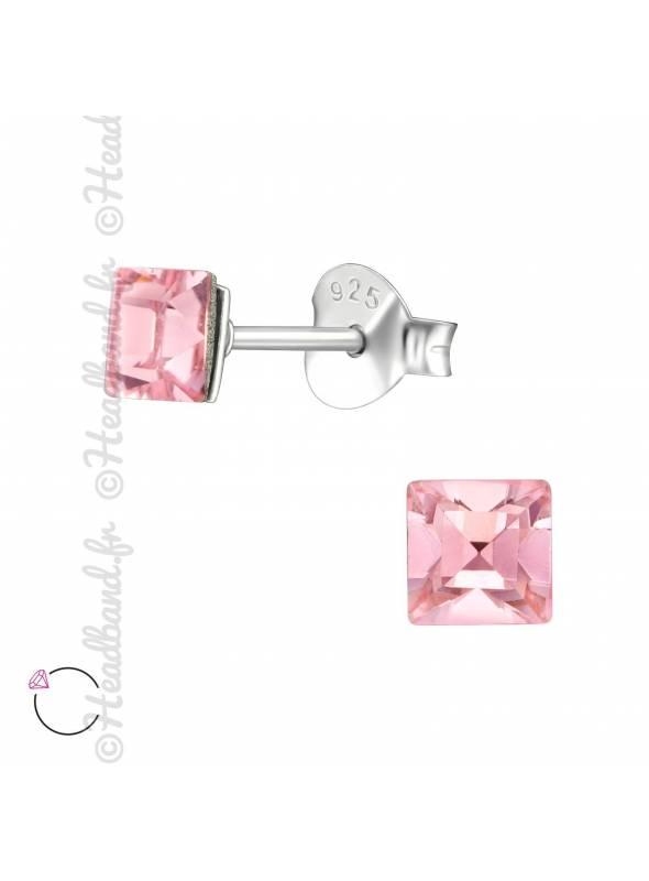 Clous d'oreilles strass carré avec Swarovski rose
