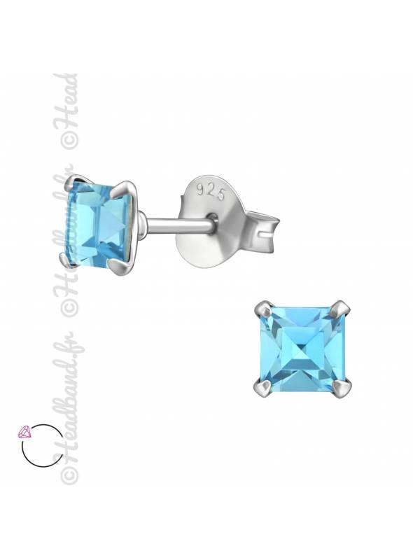 Clous d'oreilles strass carré avec Swarovski bleu
