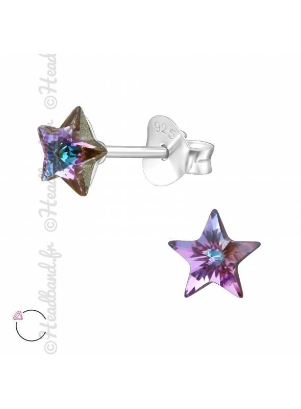 Clous d'oreilles avec strass étoile Swarovski vitrail