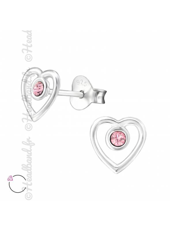 Clous d'oreilles coeur Swarovski rose clair