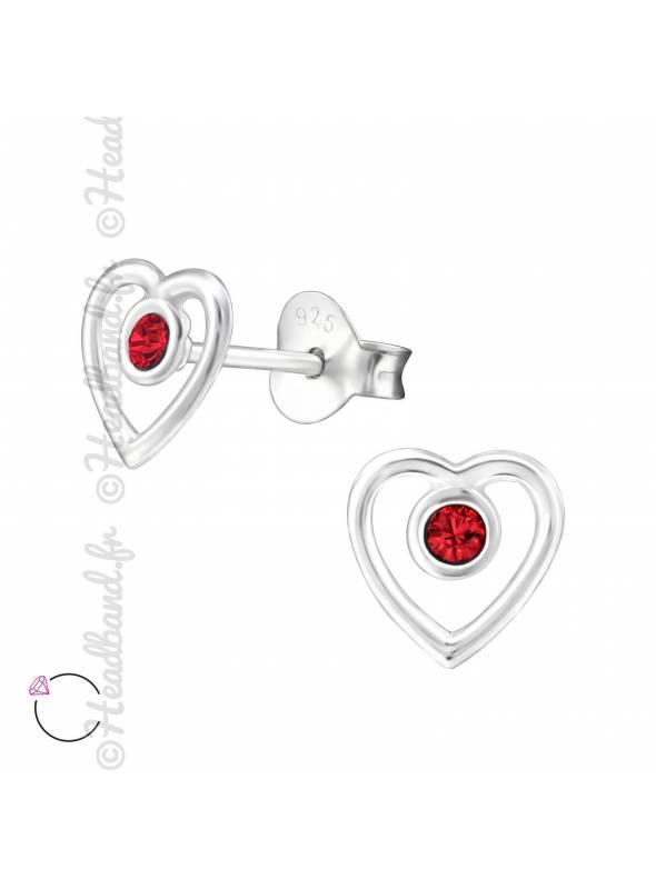 Clous d'oreilles coeur Swarovski rouge clair