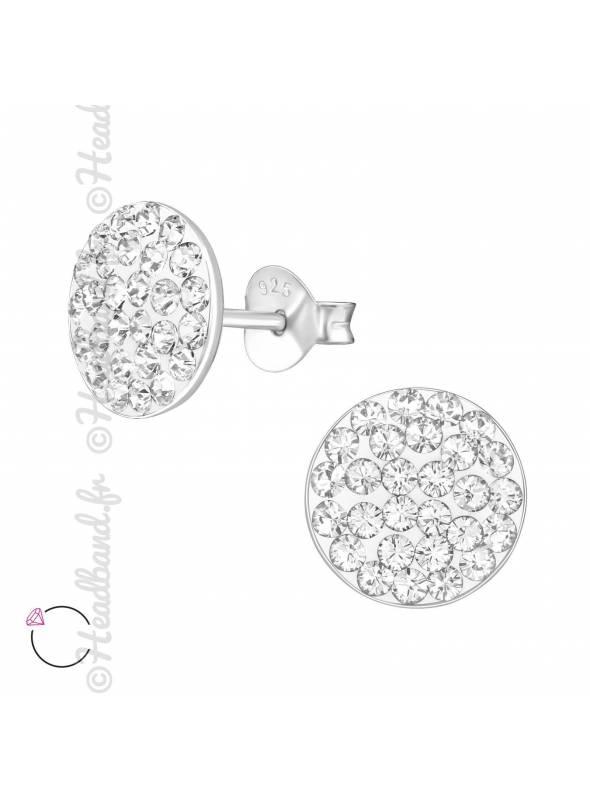 Clous d'oreilles argent rond avec cristaux Swarovski blanc