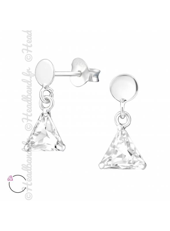 Boucles d'oreilles triangle suspendu avec cristal Swarovski blanc