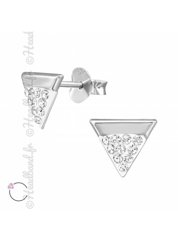 Boucles d'oreilles triangle avec cristaux Swarovski blanc