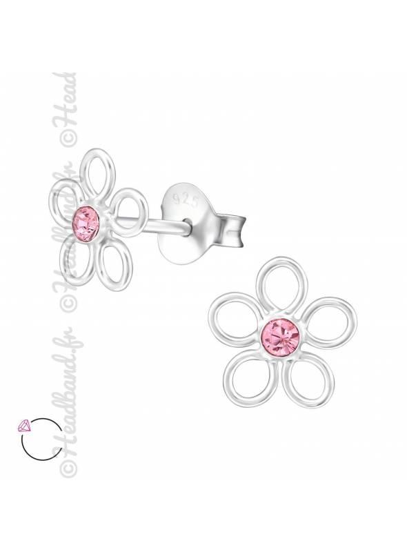 Clous d'oreilles fleur avec cristal Swarovski rose clair