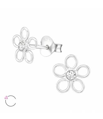Clous d'oreilles fleur avec cristal Swarovski blanc