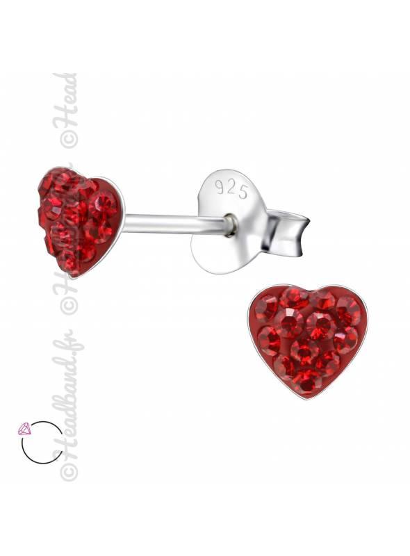 Boucles d'oreilles coeur avec cristaux Swarovski rougerose