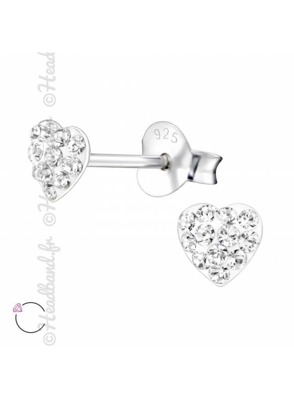 Boucles d'oreilles coeur avec cristaux Swarovski blanc