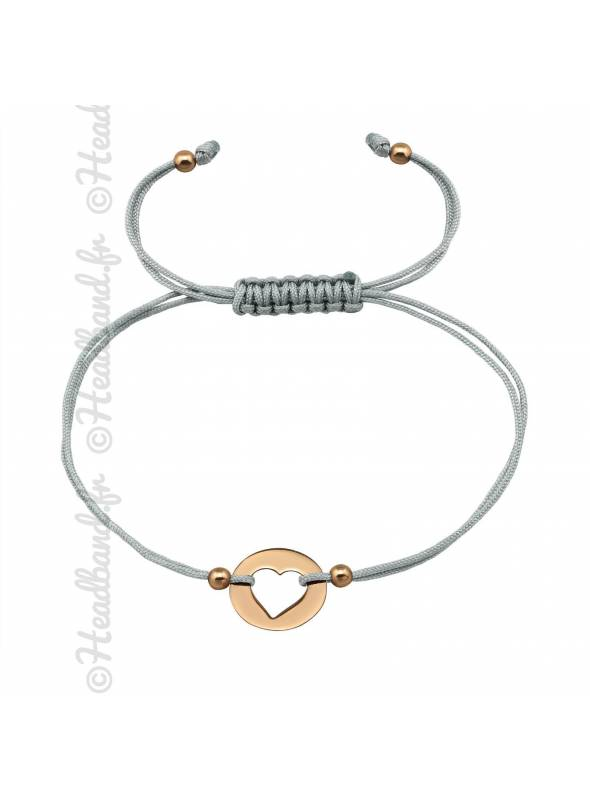 Bracelet cordon gris coeur plaqué or rose