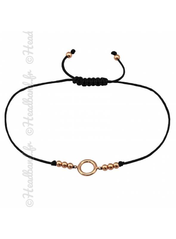 Bracelet cordon cercle et billes plaqué or rose