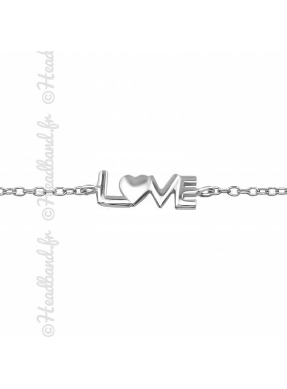 Bracelet inscription love argent 925