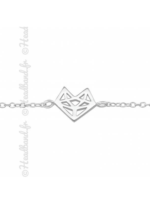 Bracelet renard géométrique argent 925