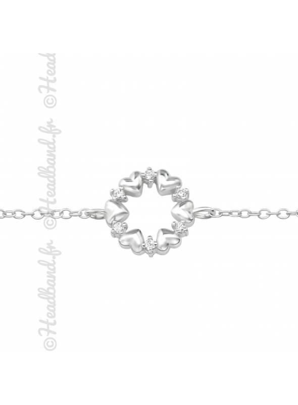 Bracelet coeurs et strass circulaire en argent 925