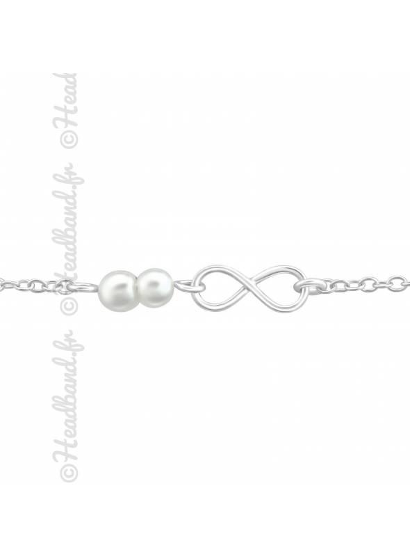 Bracelet perles signe signe infini en argent 925