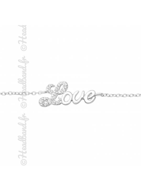 Bracelet mot love strass en argent 925