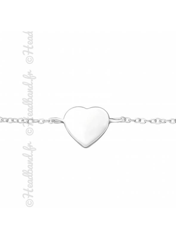 Bracelet empiècement coeur en argent 925