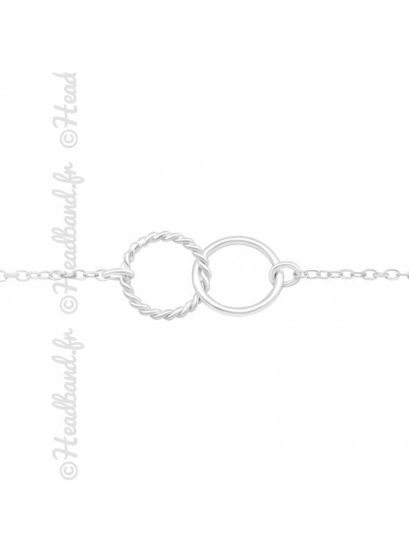 Bracelet double cercle twisté en argent 925