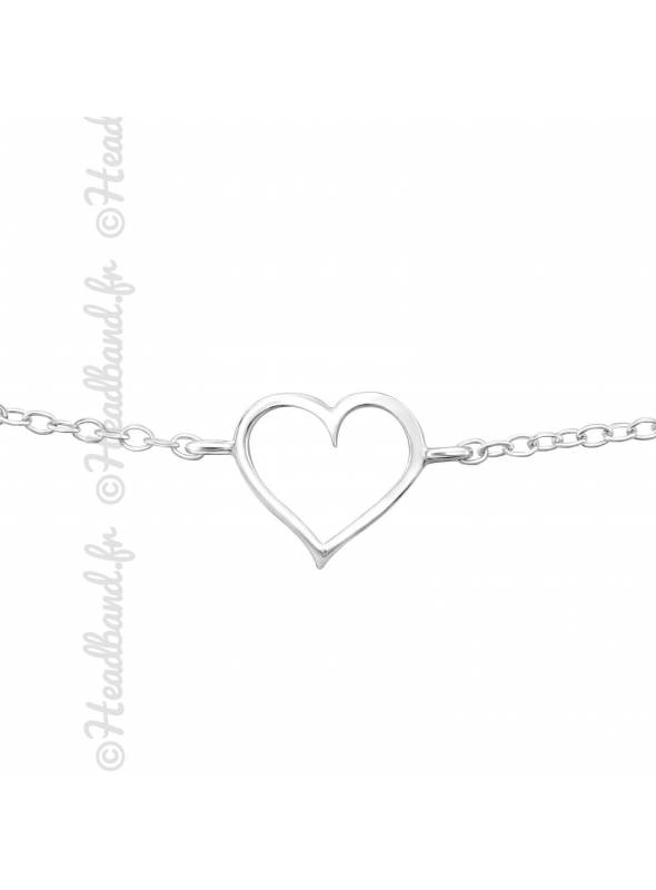 Bracelet pendentif coeur en argent 925