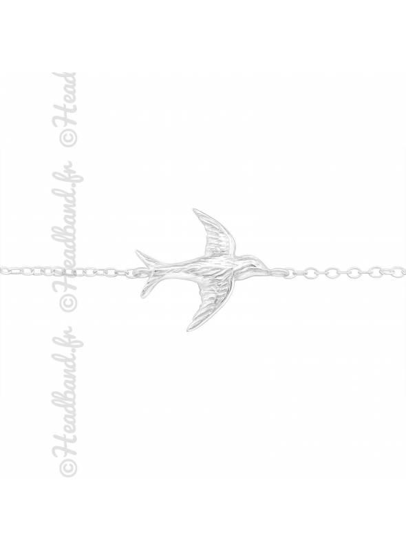 Bracelet pendentif oiseau en argent 925