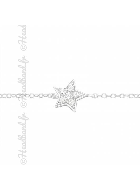 Bracelet motif étoile zirconium en argent 925