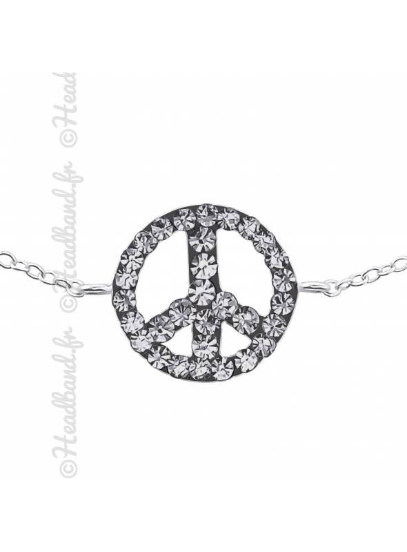 Bracelet peace and love strass en argent 925