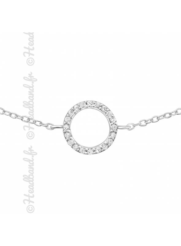 Bracelet cercle strass en argent 925