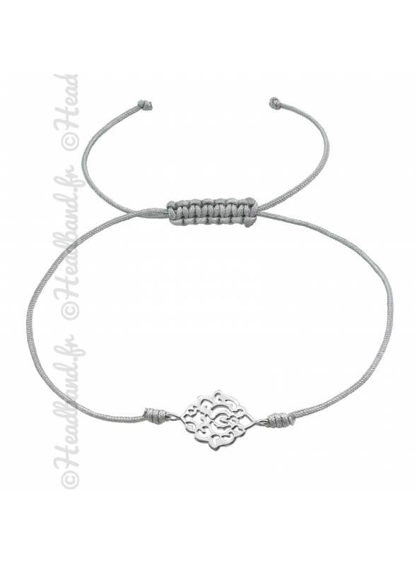 Bracelet cordon pendentif vintage argent 925