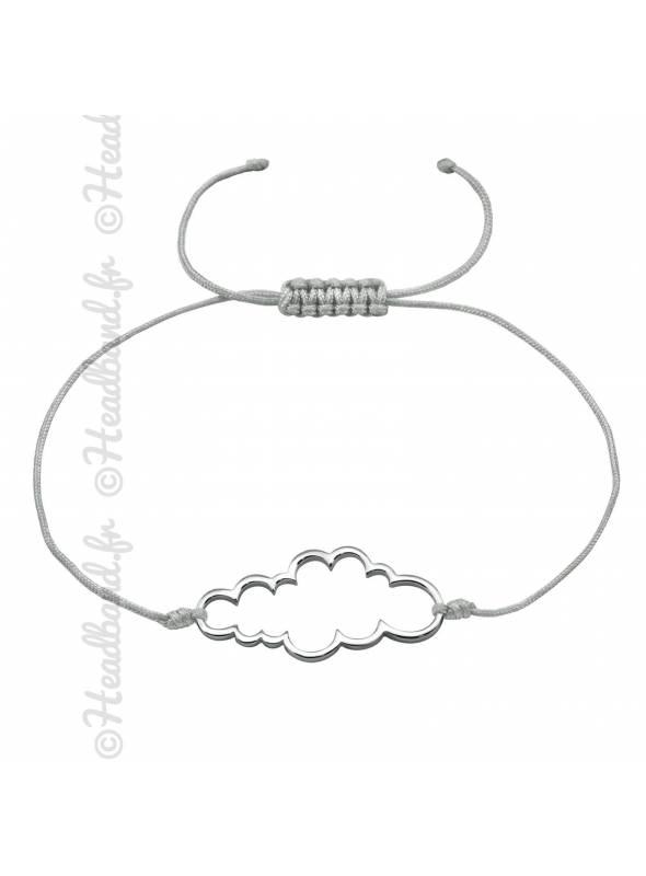 Bracelet cordon motif nuage argent 925
