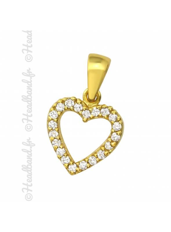 Pendentif coeur strass blanc plaqué or
