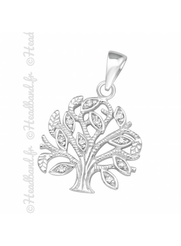 Pendentif arbre de vie strass argent 925