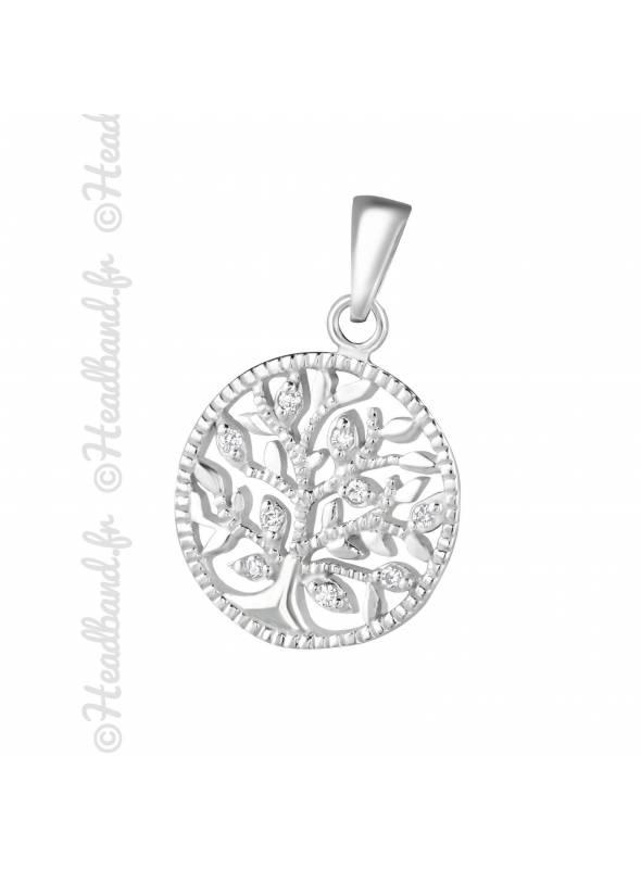 Pendentif médaillon arbre de vie cristaux argent 925